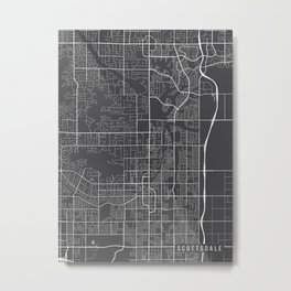 Scottsdale Map, Arizona USA - Charcoal Portrait Metal Print