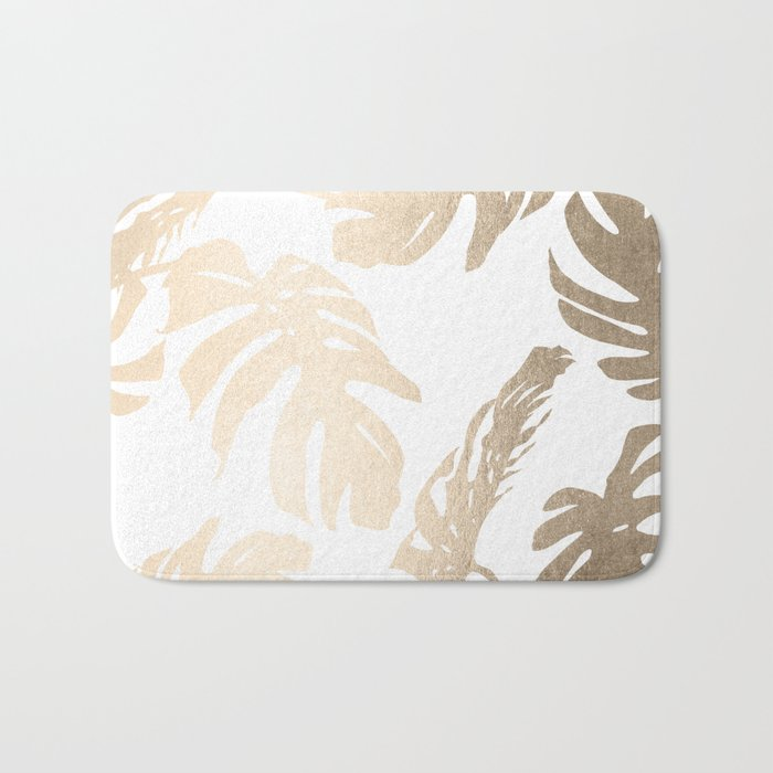 Simply Tropical Palm Leaves in White Gold Sands Bath Mat