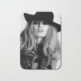 Brigitte Bardot Wearing Black Hat, Retro Fashion Art Bath Mat