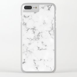 Soft White Marble With Smoky Silver Veins Clear iPhone Case