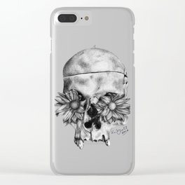 Skull and Flowers Drawing Clear iPhone Case