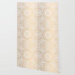 Gold Mandala Pattern Illustration With White Shimmer Wallpaper