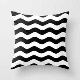 Wavy Stripes (Black/White) Throw Pillow