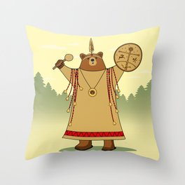 Bear Shaman Throw Pillow