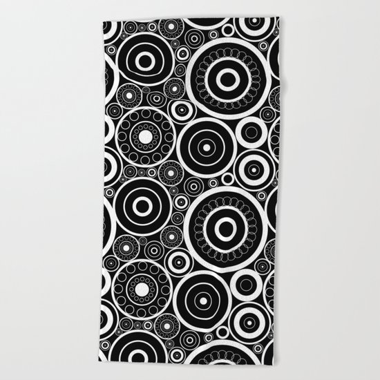 Abstract black and white pattern. Beach Towel