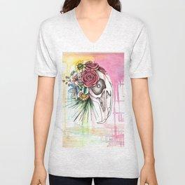 Skull and Flowers n.1 Unisex V-Neck