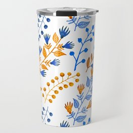 Orange brown navy blue hand painted watercolor berries floral Travel Mug