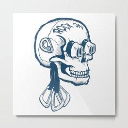 Climbing   Rock On Skull Metal Print