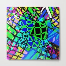 Lines Pop 3B - Green Metal Print