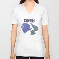 gengar V-neck T-shirts featuring PRESS START-  Gengar and Banette by Dampho