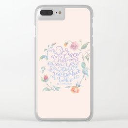 My Grace is Sufficient - 2 Corinthians 12:9 / rose pink Clear iPhone Case