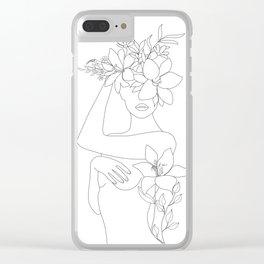 Minimal Line Art Woman with Flowers VI Clear iPhone Case