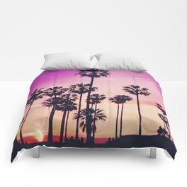 Sunset Palms Purple Tropical Sky Comforters