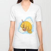 manatee V-neck T-shirts featuring Sky Manatee by Marlee Jennings