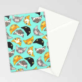 """""""Oro?"""" Cats-Turquoise Stationery Cards"""