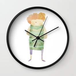 Bird Girl Character in Stripes and Plaid Wall Clock