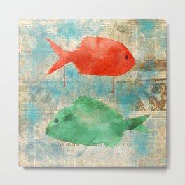 Red and Green Fish - watercolors Metal Print