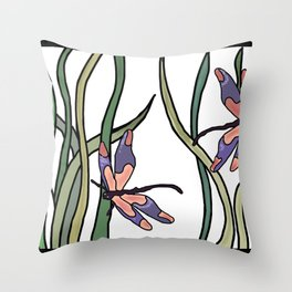 pink dragonfly in the grass Throw Pillow