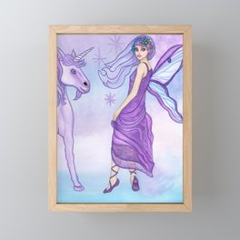 Twilight in Faerieland Fairy Unicorn Fantasy Art by Laurie Leigh Framed Mini Art Print