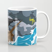 pirate ship Mugs featuring Pirate Ship in Stormy Ocean by Nick's Emporium
