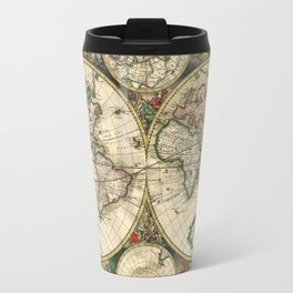 Old map of world hemispheres (enhanced) Travel Mug