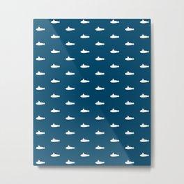 Tiny Subs - Navy Metal Print