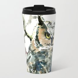 Great Horned Owl in Woods Travel Mug