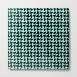 Black and Seafoam Blue Classic houndstooth pattern Metal Print