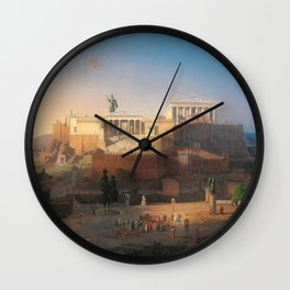 The Acropolis of Athens, Greece by Leo von Klenze Wall Clock