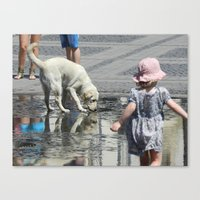 toddler Canvas Prints featuring White Dog and Toddler by Dan Jordache