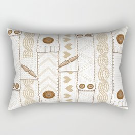 Scarves Knitted Buttoned - Beige Rectangular Pillow