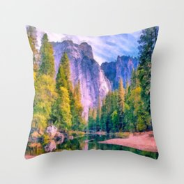 Mountain landscape with forest and river Throw Pillow