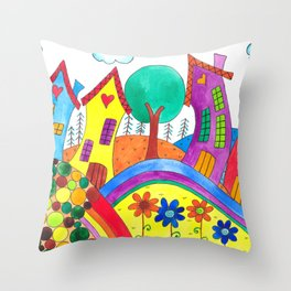 A Happy Town Throw Pillow