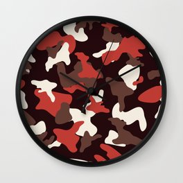 Red camo camouflage army pattern Wall Clock