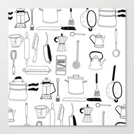 Kitchen essentials in black and white Canvas Print