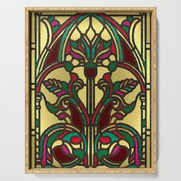 Victorian Stained Glass in Gold and Maroon Serving Tray