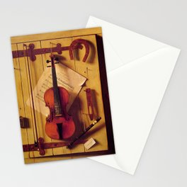 William Michael Harnett - Still Life with Violin and Music Stationery Cards