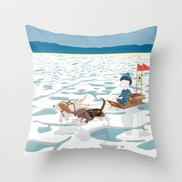 A boy, a box and two bassets hounds_Ice Throw Pillow