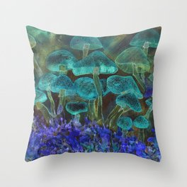 Black specled psychedelic fluorescent mushrooms Throw Pillow