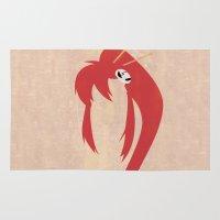 gurren lagann Area & Throw Rugs featuring Minimalist Yoko by 5eth