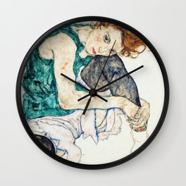 Egon Schiele Seated Woman with Bent Knee Wall Clock