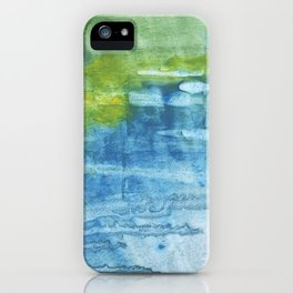 Blue green colored wash drawing iPhone Case