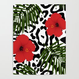 Red hibiscus and palm leaves seamless pattern Poster