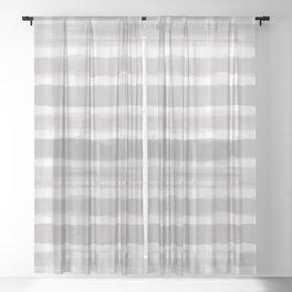 Slate Violet Gray SW9155 Watercolor Brushstroke Plaid Pattern on White Sheer Curtain