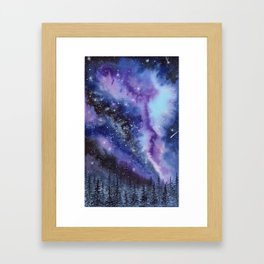 Purple & Blue watercolor galaxy landscape painting Framed Art Print