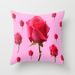 SCATTERED PINK ROSE BUD FLOWERS ON PINK Throw Pillow