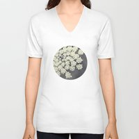 lace V-neck T-shirts featuring Black and White Queen Annes Lace by Erin Johnson