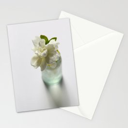 White Gardenia in Aqua Blue Vase Stationery Cards