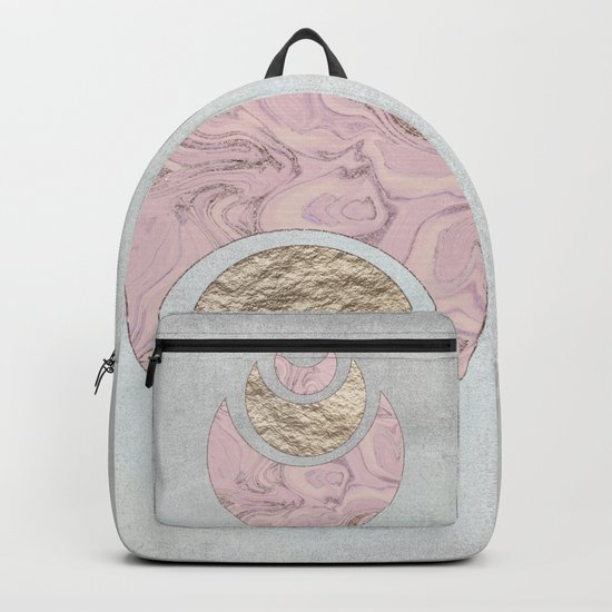 Elegant Pastel Rose Gold Marble Half Moon Design Backpack