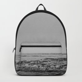 Black and White Pacific Ocean Waves Backpack